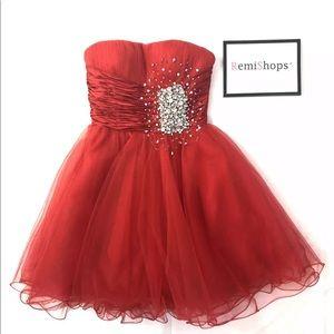 Sherri Hill Red Rhinestone Bling Prom Dress size 0
